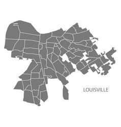 Louisville kentucky city map with neighborhoods vector