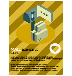 mail color isometric poster vector image