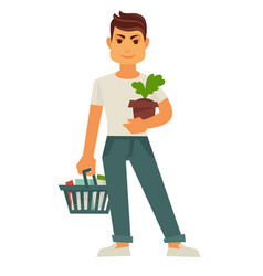 Male person holds flowerpot and cart with products vector