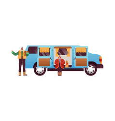 man woman with motorhome camping van isolated vector image