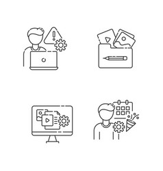 Management pixel perfect linear icons set vector