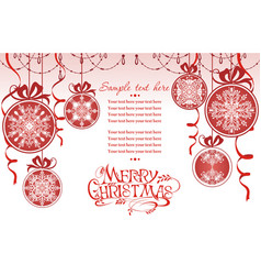merry christmas balls with snowflakes vector image