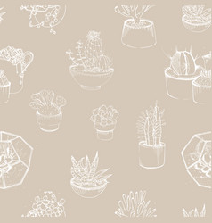 modern seamless pattern with succulent outlines vector image