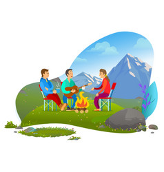 mountain picnic recreation image vector image