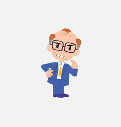 Old businessman with glasses ponders something vector