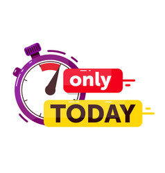only today sale promotion countdown badge on white vector image