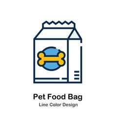 Pet food bag line color icon vector