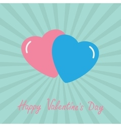 Pink and blue hearts Happy Valentines Day card vector