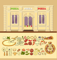 Pizzeria and set of cute various pizza ingredient vector