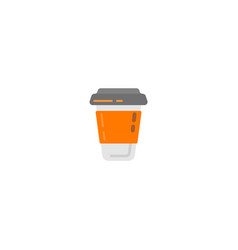 plastic coffee cup with hot coffee in flat style vector image
