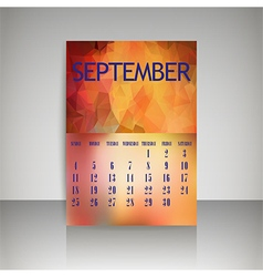 Polygonal 2016 calendar design for SEPTEMBER vector