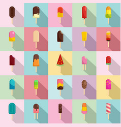 Popsicle ice cream stick icons set flat style vector