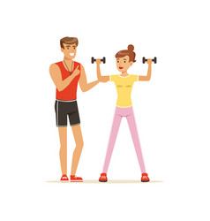 Professional fitness coach exercising with vector