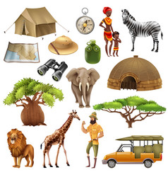 Safari set icon set vector