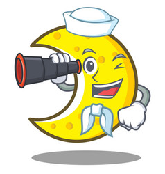 Sailor with binocular crescent moon character vector