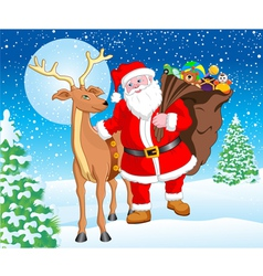 Santa and Reindeer with Gift for Christmas vector image
