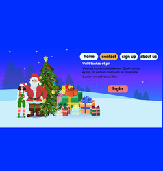 santa claus girl elf near fir tree decorated vector image