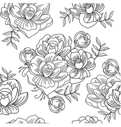 seamless pattern contour peony flowers vector image