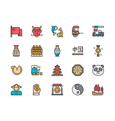 set chinese culture flat color icons rickshaw vector image