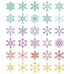 Set of 30 different snowflakes vector image