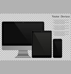 Set of realistic computer monitors tablets and vector