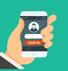 Sign in on smartphone - user icon and password vector