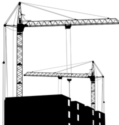 Silhouette of two cranes working on the building vector image