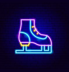 skating neon sign vector image
