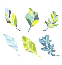 Sketch leaves elements set vector