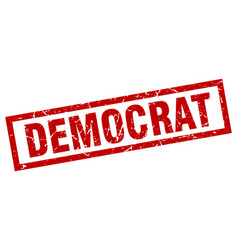 Square grunge red democrat stamp vector
