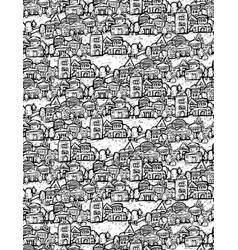 suburb houses trees fields doodles black and white vector image