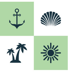 Sun icons set collection conch sunny vector