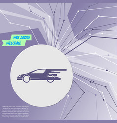 super car icon on purple abstract modern vector image