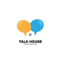 Talk house logo template vector