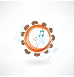 tambourine grunge icon vector image