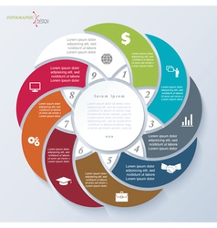 Template for business presentation with 9 segments vector
