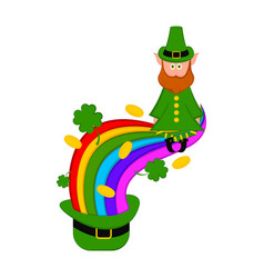 traditional irish hat with a rainbow and elf vector image