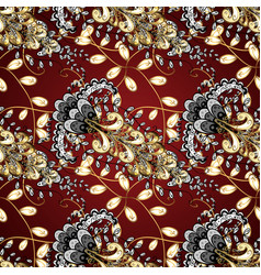 Traditional orient ornament golden pattern on red vector