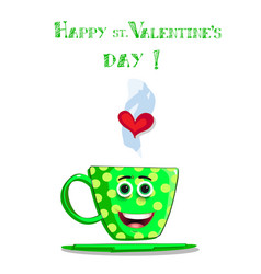 valentines day greeting card with cute cartoon vector image