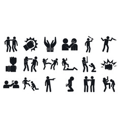 Violence icons set simple style vector