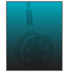 wheel and shock absorber on a turquoise vector image