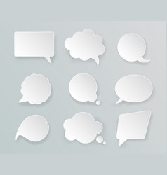 white mockup retro speech bubbles set vector image