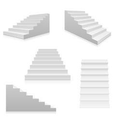 White stairs 3d interior staircases isolated vector