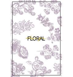Wild flowers blossom branch background vintage vector