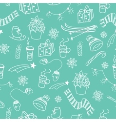 winter doodles seamless pattern vector image