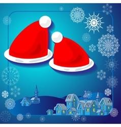 Winter in the village Santa hats vector