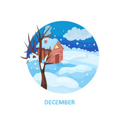 winter landscape with little house tree snow on vector image