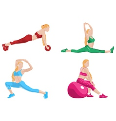 Women fitness exercising vector
