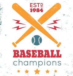 baseball vintage poster white vector image vector image