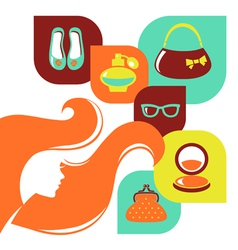 Beautiful woman silhouette with shopping icons vector image vector image